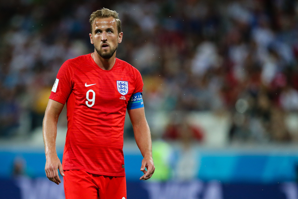 Harry Kane(c) of England in action during the England v Tunisia 2018 FIFA World Cup match at Volgograd Arena, Volgograd Picture by Paul Chesterton/Focus Images Ltd +44 7904 640267 18/06/2018