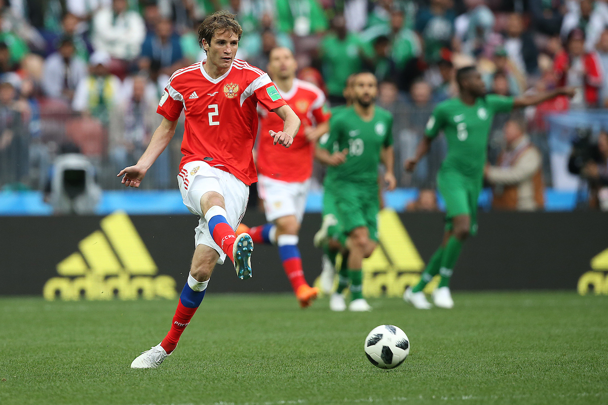 Mario Fernandes of Russia in action during the opening match of the 2018 FIFA World Cup at Luzhniki Stadium, Moscow Picture by Paul Chesterton/Focus Images Ltd +44 7904 640267 14/06/2018