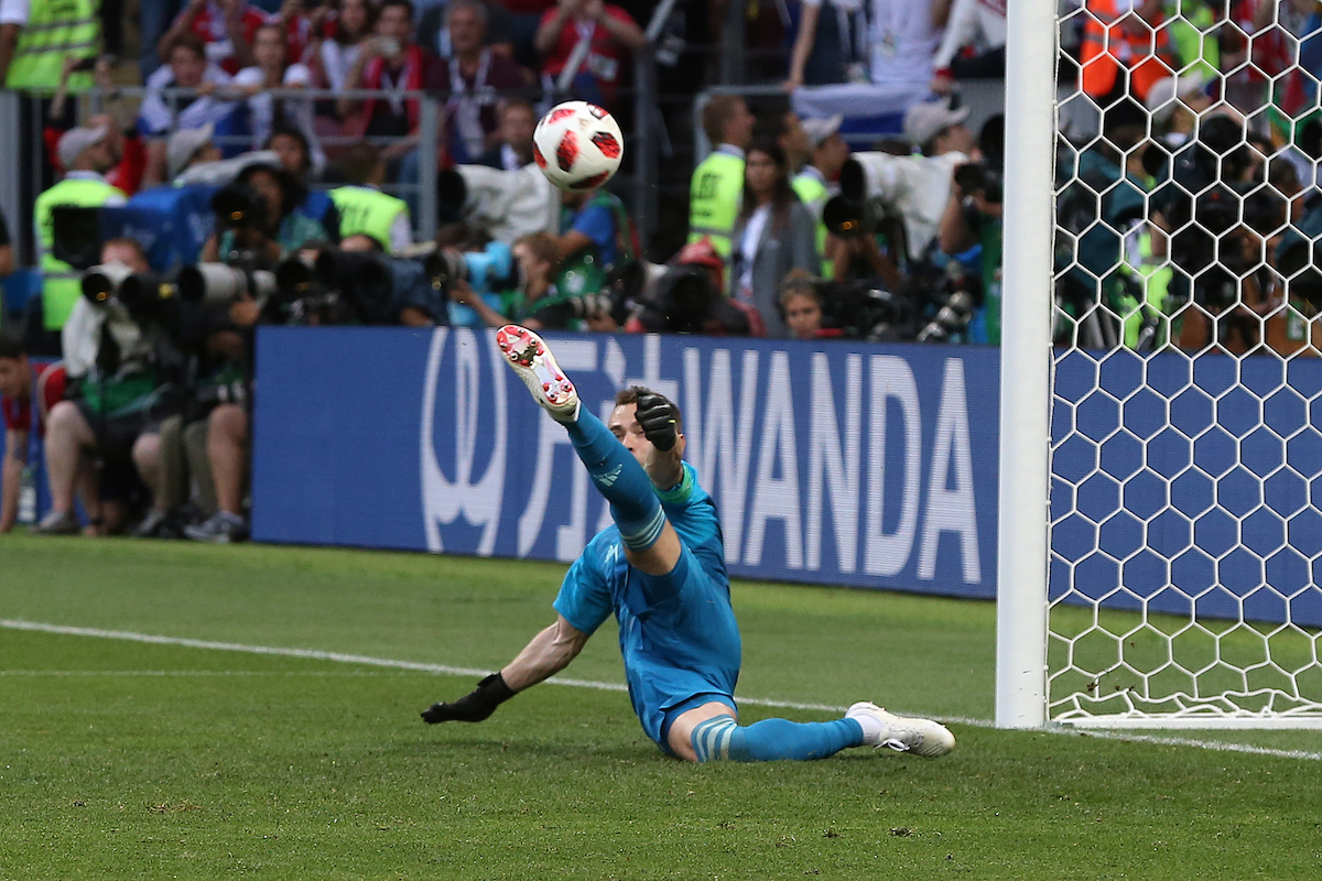 Igor Akinfeev of Russia saves a penalty from Iago Aspas of Spain to put his country through to the Quarter Final during the 2018 FIFA World Cup match at Luzhniki Stadium, Moscow Picture by Paul Chesterton/Focus Images Ltd +44 7904 640267 01/07/2018