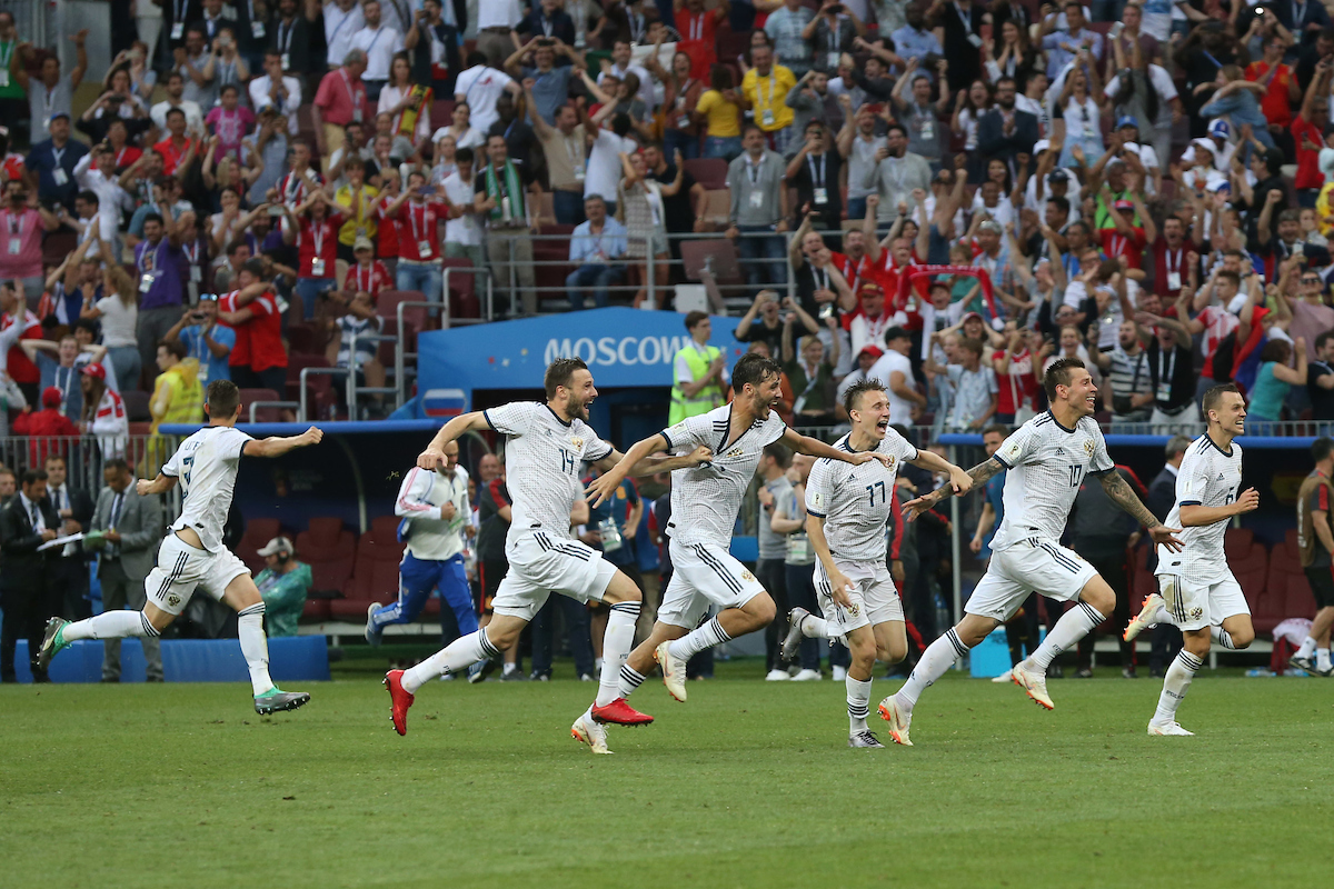 The Russian players celebrate victory at the end of the 2018 FIFA World Cup match at Luzhniki Stadium, Moscow Picture by Paul Chesterton/Focus Images Ltd +44 7904 640267 01/07/2018