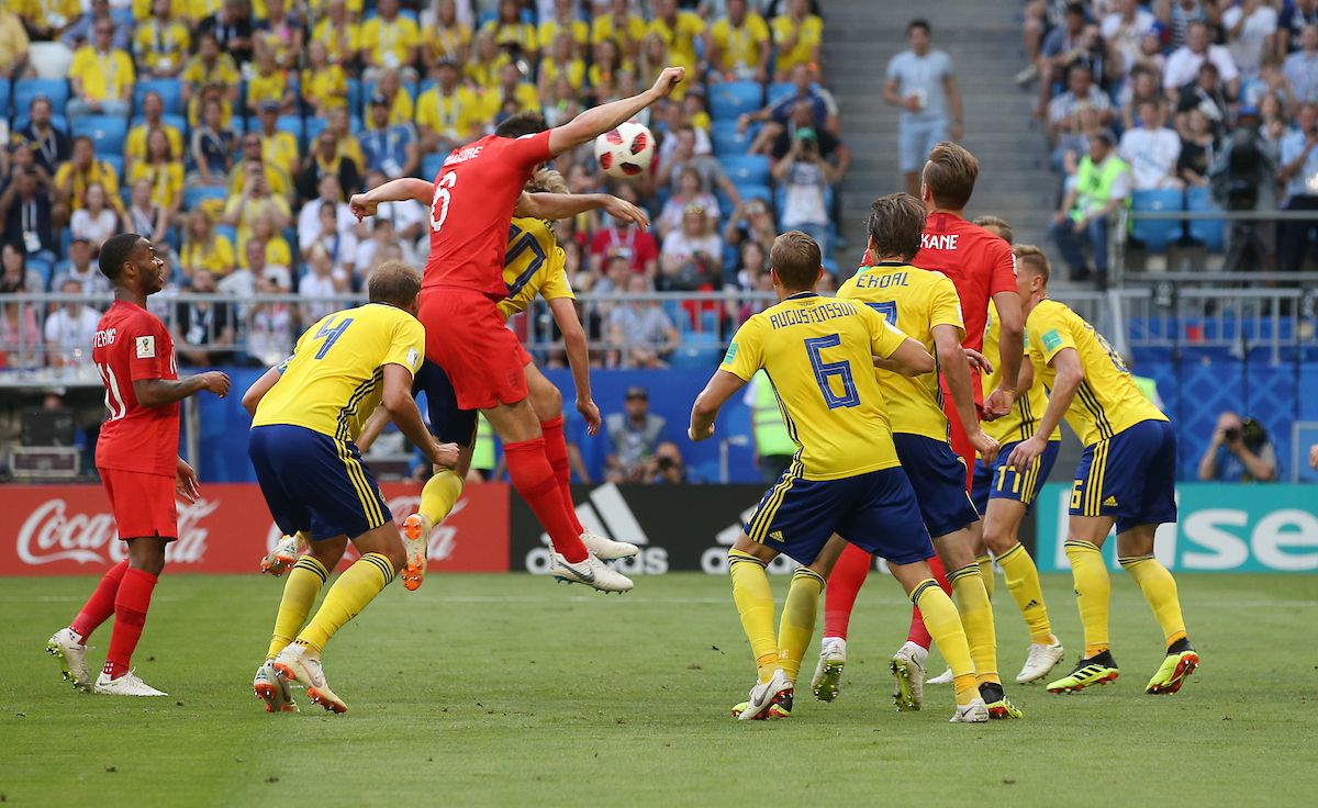 Harry Maguire of England scores their first goal during the 2018 FIFA World Cup Quarter-Final match at Samara Arena, Samara Picture by Paul Chesterton/Focus Images Ltd +44 7904 640267 07/07/2018