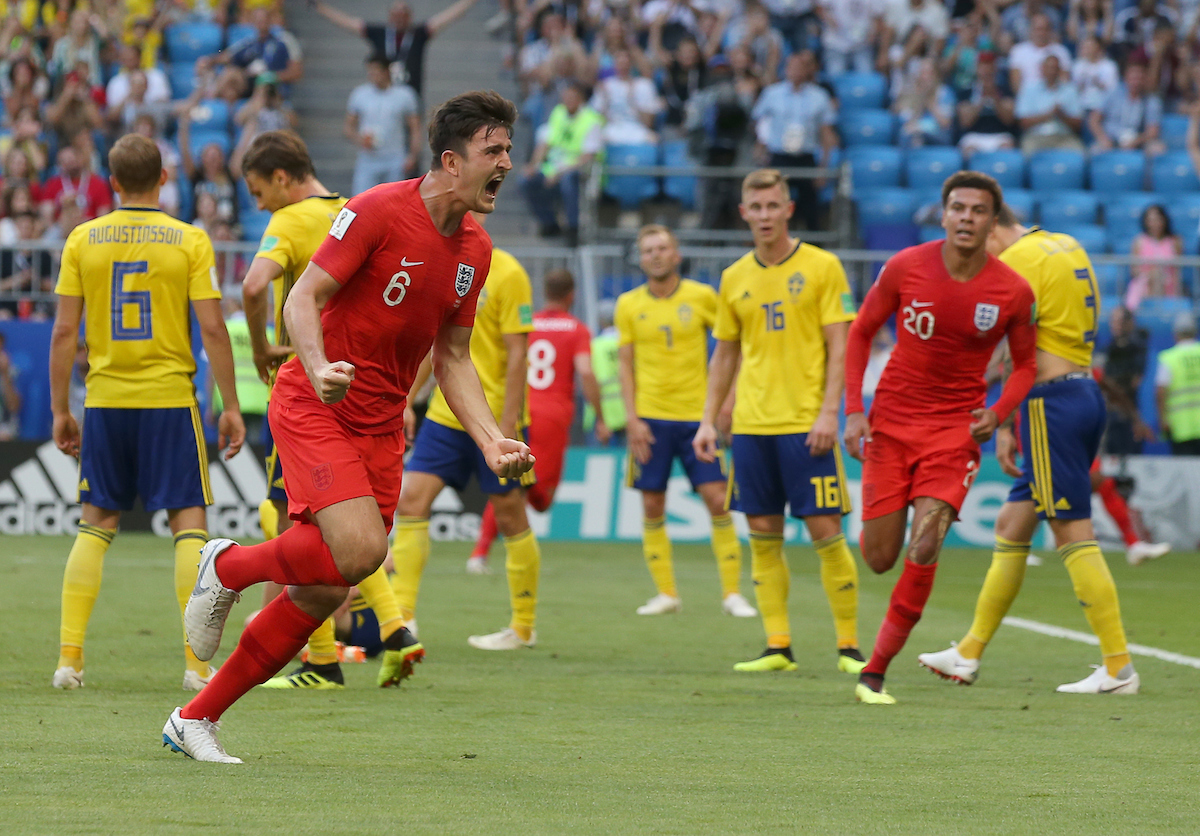 Harry Maguire of England celebrates scoring their first goal during the 2018 FIFA World Cup Quarter-Final match at Samara Arena, Samara Picture by Paul Chesterton/Focus Images Ltd +44 7904 640267 07/07/2018