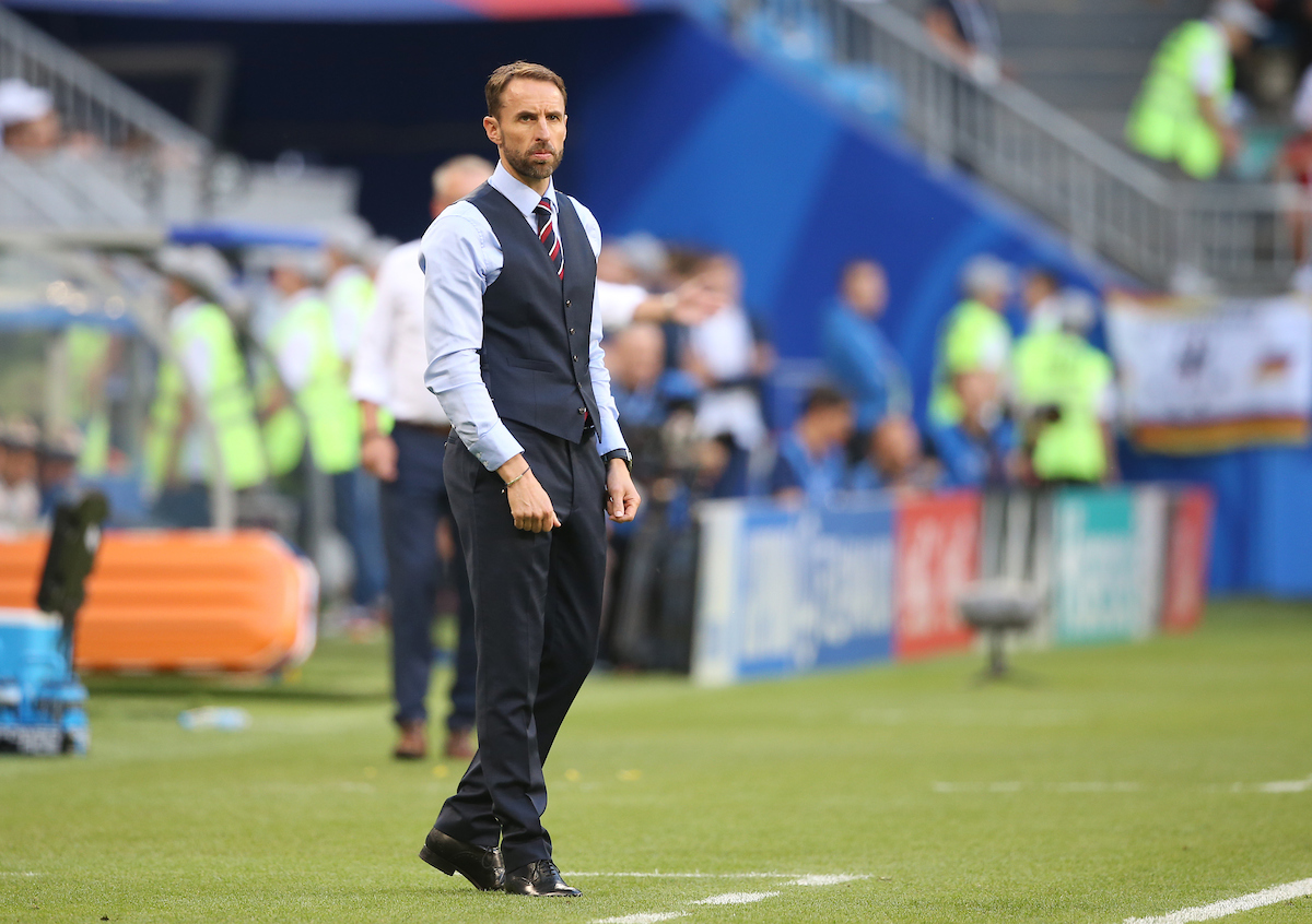 England Manager Gareth Southgate during the 2018 FIFA World Cup Quarter-Final match at Samara Arena, Samara Picture by Paul Chesterton/Focus Images Ltd +44 7904 640267 07/07/2018