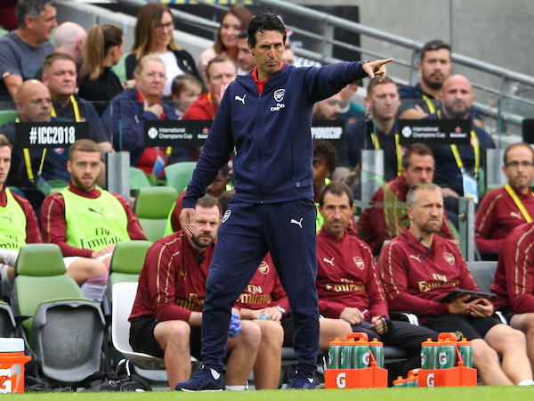 Arsenal Manager Unai Emery during the International Champions Cup match at the Aviva Stadium, Dublin Picture by Yannis Halas/Focus Images Ltd +353 8725 82019 01/08/2018