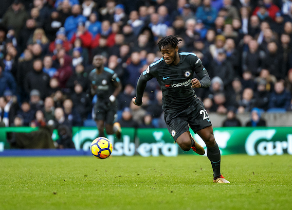 Michy Batshuayi of Chelsea during the Premier League match at the American Express Community Stadium, Brighton and Hove Picture by Liam McAvoy/Focus Images Ltd 07413 543156 20/01/2018