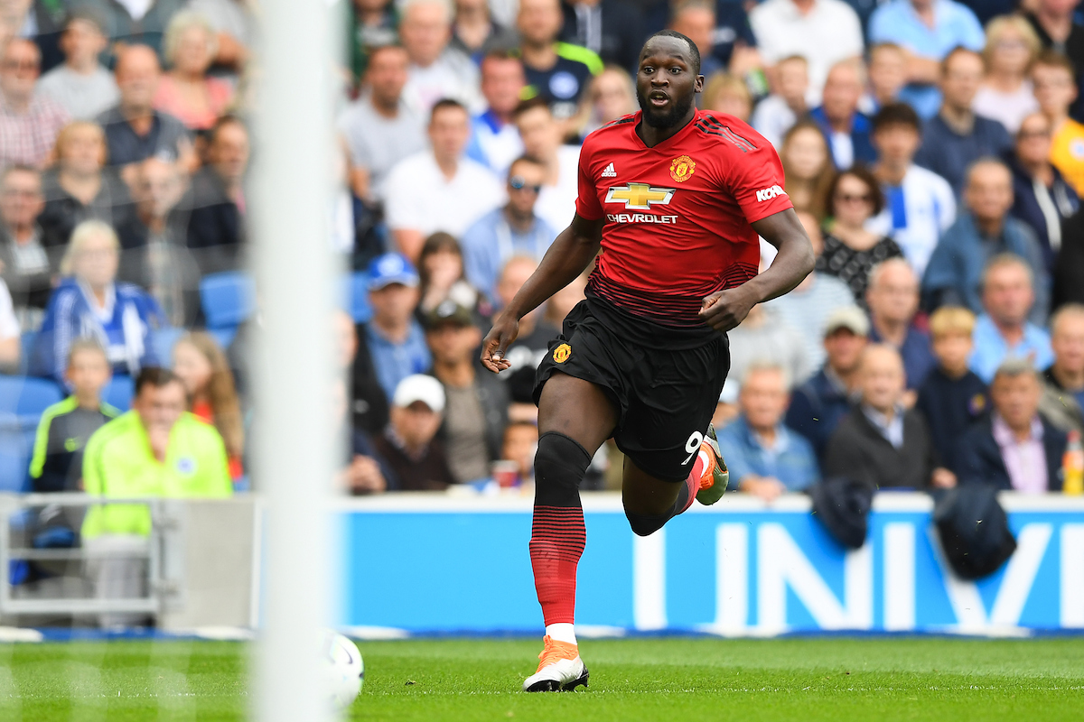 Romelu Lukaku of Manchester United goes through on goal during the Premier League match at the American Express Community Stadium, Brighton and Hove Picture by Simon Dael/Focus Images Ltd 07866 555979 19/08/2018