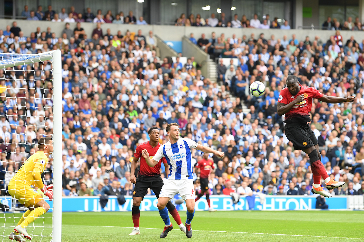 Romelu Lukaku of Manchester United scoring during the Premier League match at the American Express Community Stadium, Brighton and Hove Picture by Simon Dael/Focus Images Ltd 07866 555979 19/08/2018