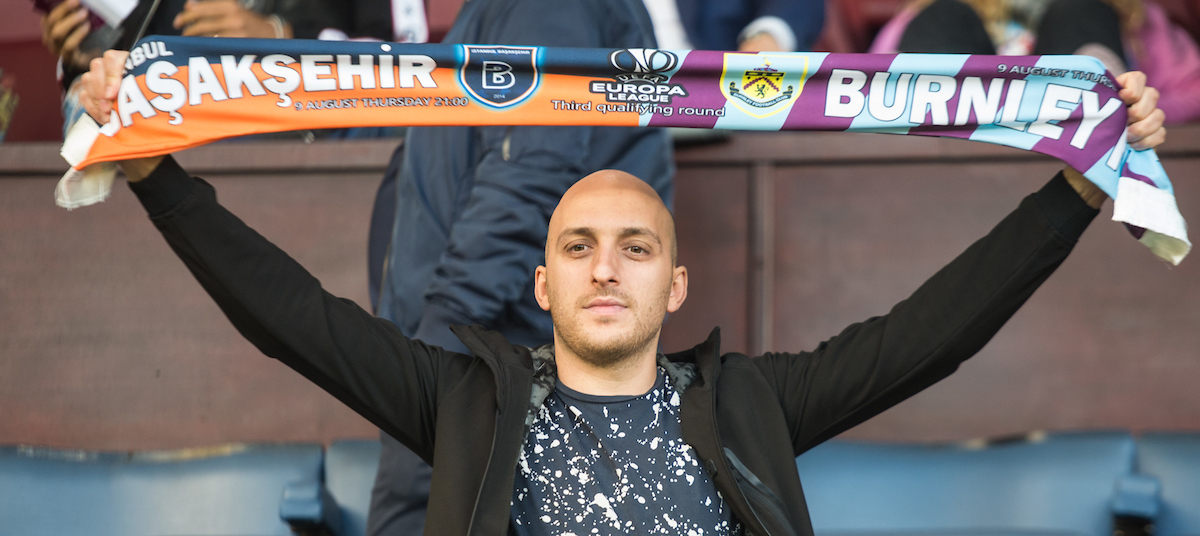A Istanbul Basaksehir fan during the UEFA Europa League match at Turf Moor, Burnley Picture by Matt Wilkinson/Focus Images Ltd 07814 960751 16/08/2018