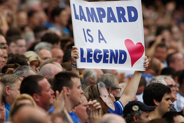 "Picture by Andrew Tobin/Focus Images Ltd +44 7710 761829 18/08/2013  A sign saying ""Lampard is a Legend"" during the Barclays Premier League match at Stamford Bridge, London."