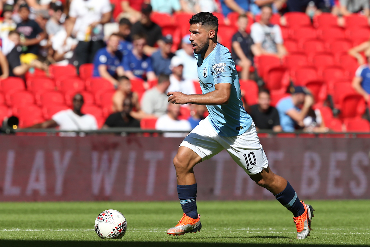 Sergio Aguero of Manchester City in action during the FA Community Shield match at Wembley Stadium, London Picture by Paul Chesterton/Focus Images Ltd +44 7904 640267 05/08/2018