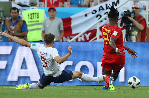 John Stones of England blocks the shot from Michy Batshuayi of Belgium during the 2018 FIFA World Cup match at Kaliningrad Stadium, Kaliningrad Picture by Paul Chesterton/Focus Images Ltd +44 7904 640267 28/06/2018