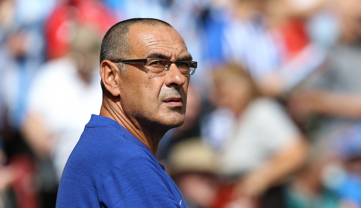 Maurizio Sarri of Chelsea during the Premier League match at the John Smiths Stadium, Huddersfield Picture by James Wilson/Focus Images Ltd 07522 978714?? 11/08/2018
