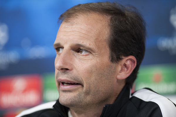 Massimiliano Allegri of Juventus during a press conference ahead of their UEFA Champions League semi final at the Vinovo, Turin Picture by Stefano Gnech/Focus Images Ltd +39 333 1641678 04/05/2015