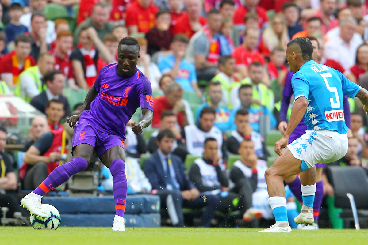 Naby Keita of Liverpool and Allan of Napoli during the friendly match at the Aviva Stadium, Dublin Picture by Yannis Halas/Focus Images Ltd +353 8725 82019 04/08/2018