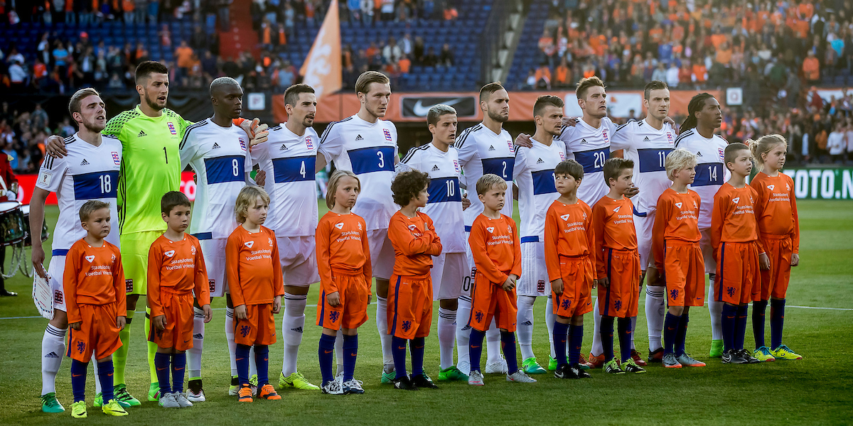 line-up Luxemburg before the 2018 FIFA World Cup Qualifying match at De Kuip, Rotterdam Picture by Joep Joseph Leenen/Focus Images Ltd +316 5261929 09/06/2017 ***NETHERLANDS OUT***