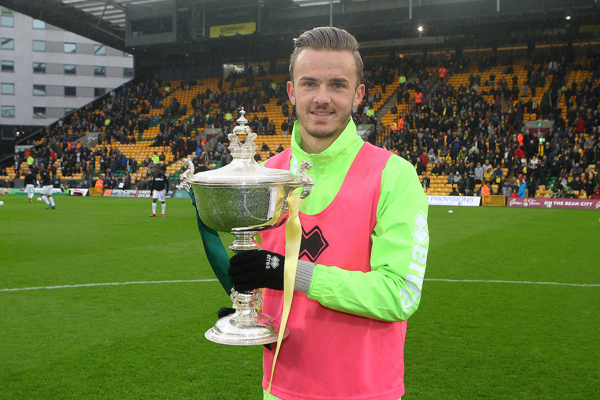 James Maddison of Norwich is presented with his player of the season trophy before the Sky Bet Championship match at Carrow Road, Norwich Picture by Paul Chesterton/Focus Images Ltd +44 7904 640267 28/04/2018