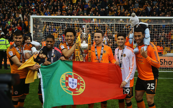 All of the Portuguese players of Wolverhampton Wanderers celebrate with the Champions League Trophy during the Sky Bet Championship match at Molineux, Wolverhampton Picture by Will Kilpatrick/Focus Images Ltd 07964 414368 28/04/2018