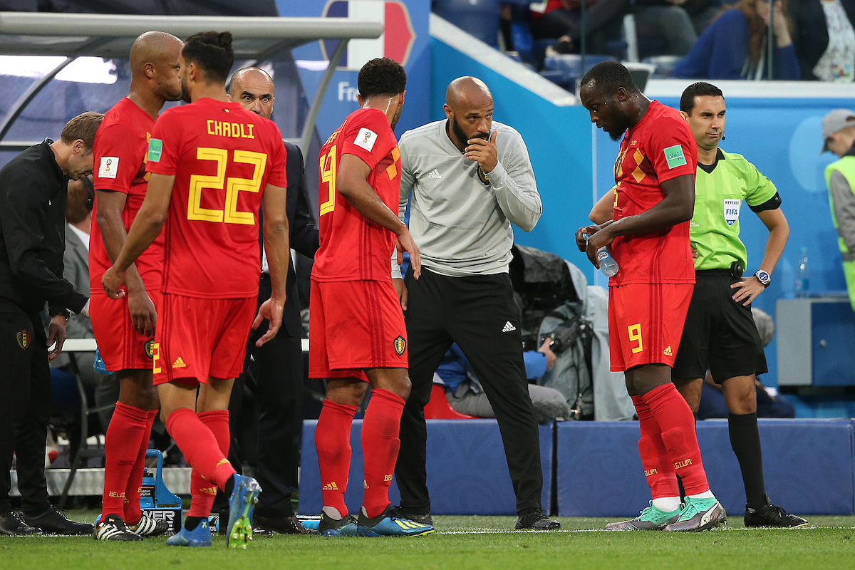 Belgium Assistant coach Thierry Henry gives instructions to Romelu Lukaku of Belgium during the 2018 FIFA World Cup Semi Final match at St Petersburg Stadium, St Petersburg Picture by Paul Chesterton/Focus Images Ltd +44 7904 640267 10/07/2018