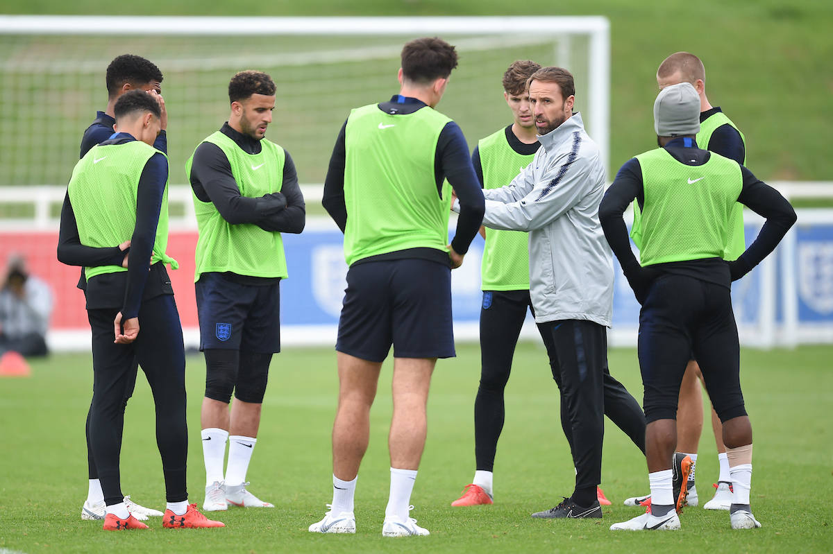 England Manager Gareth Southgate instructing his players during training at the England media day at St Georges Park, Burton upon Trent Picture by Martyn Haworth/Focus Images Ltd 07463250714 04/09/2018