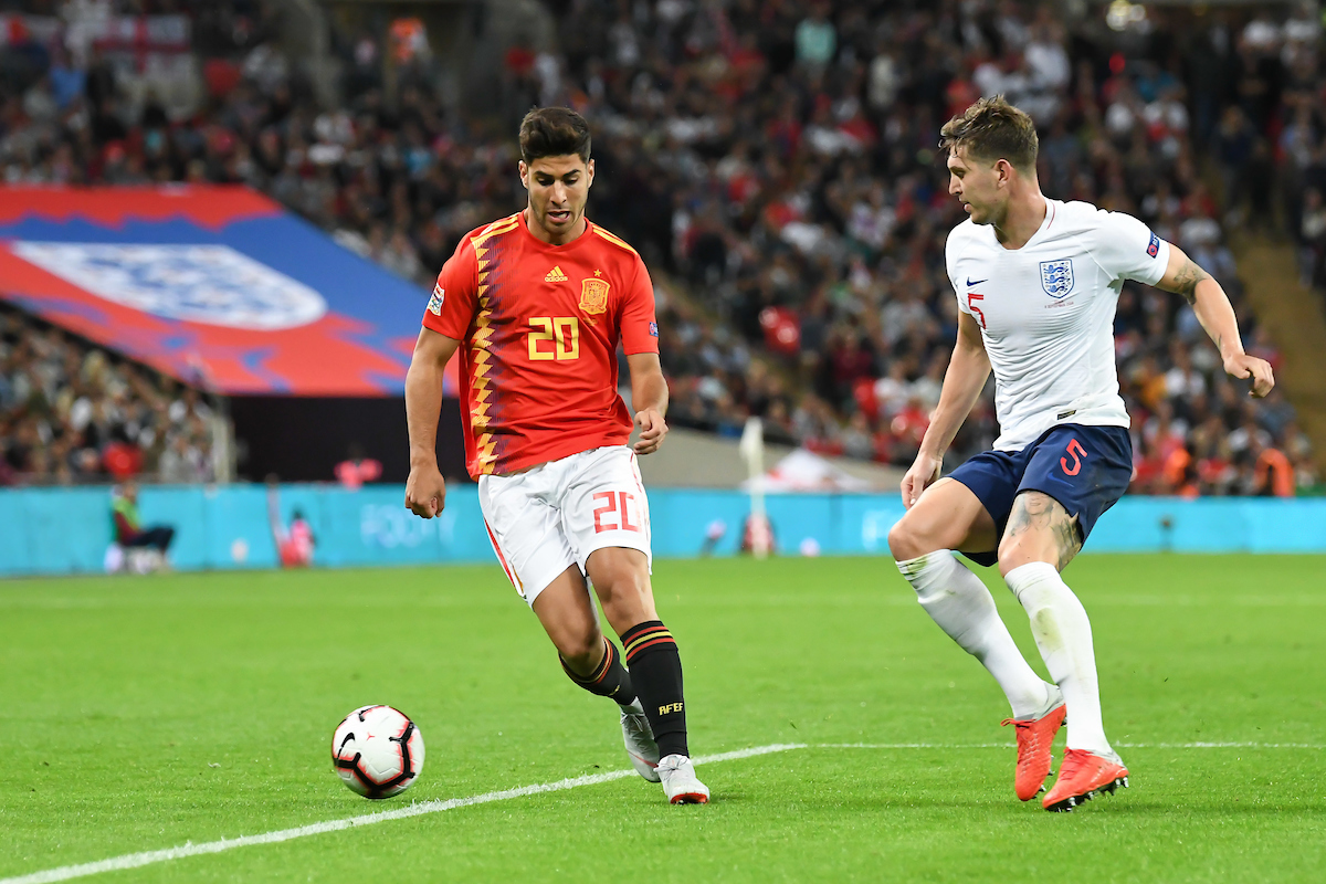 Marco Asensio of Spain John Stones of England during the UEFA Nations League match at Wembley Stadium, London Picture by Martyn Haworth/Focus Images Ltd 07463250714 08/09/2018
