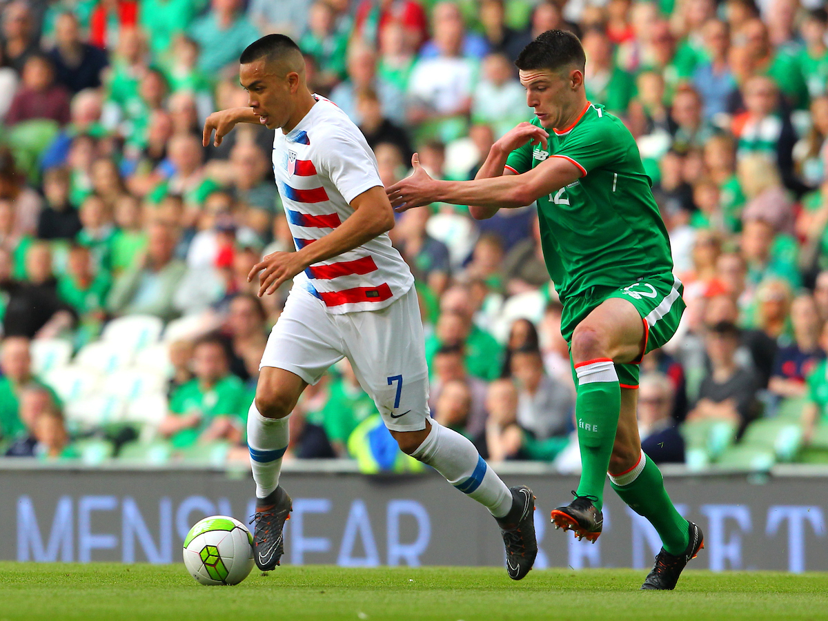Decla Rice of Republic of Ireland and Bobby Wood of USA during the International Friendly match at the Aviva Stadium, Dublin Picture by Yannis Halas/Focus Images Ltd +353 8725 82019 02/06/2018