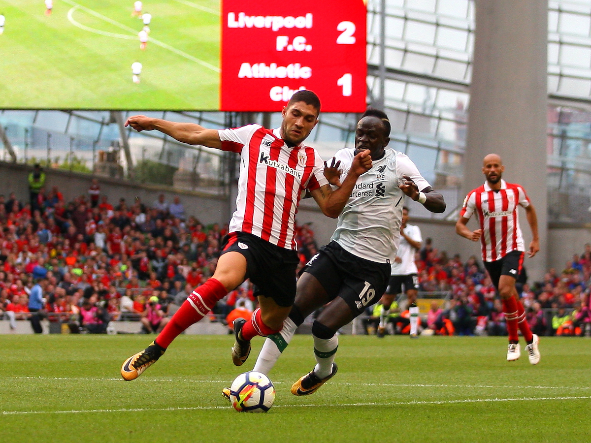Sadio Mane of Liverpool and Unai Nunez of Athletic Bilbao during the Pre-season Friendly match at the Aviva Stadium, Dublin Picture by Yannis Halas/Focus Images Ltd +353 8725 82019 05/08/2017