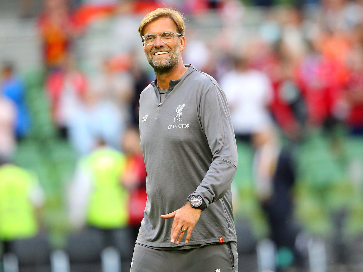 Jurgen Klopp of Liverpool at the end of the friendly match at the Aviva Stadium, Dublin Picture by Yannis Halas/Focus Images Ltd +353 8725 82019 04/08/2018