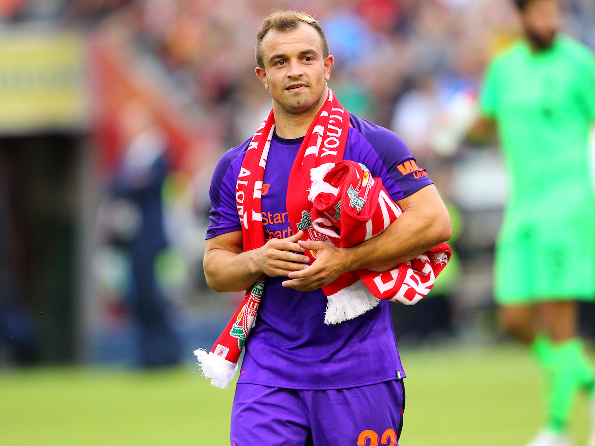 Xherdan Shaqiri of Liverpool at the end of the friendly match at the Aviva Stadium, Dublin Picture by Yannis Halas/Focus Images Ltd +353 8725 82019 04/08/2018