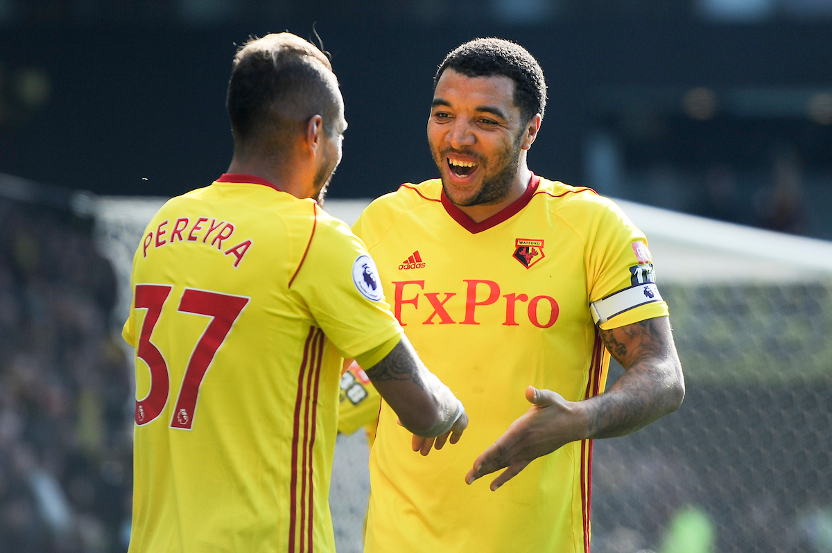 Roberto Pereyra of Watford (L) celebrates scoring his team's second goal with teammate Troy Deeney of Watford (R) during the Premier League match at Vicarage Road, Watford Picture by Alex Burstow/Focus Images Ltd 07814032530 31/03/2018