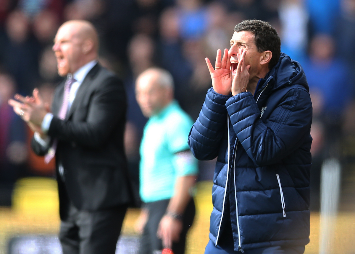 Watford manager Javi Gracia (r) and Burnley manager Sean Dyche during the Premier League match at Vicarage Road, Watford Picture by Simon Moore/Focus Images Ltd 07807 671782 07/04/2018