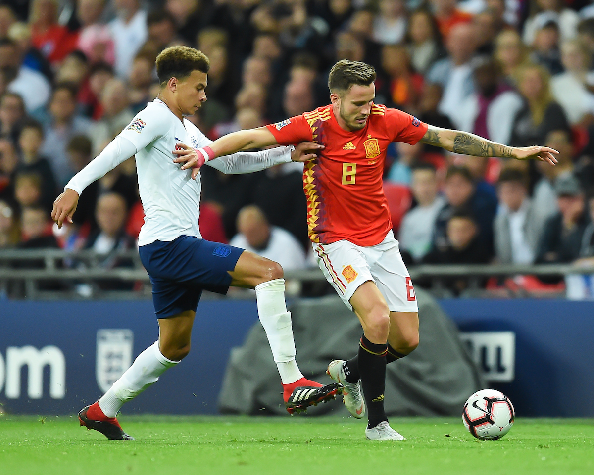Saúl Ñíguez of Spain and Dele Alli of England during the UEFA Nations League match at Wembley Stadium, London Picture by Martyn Haworth/Focus Images Ltd 07463250714 08/09/2018
