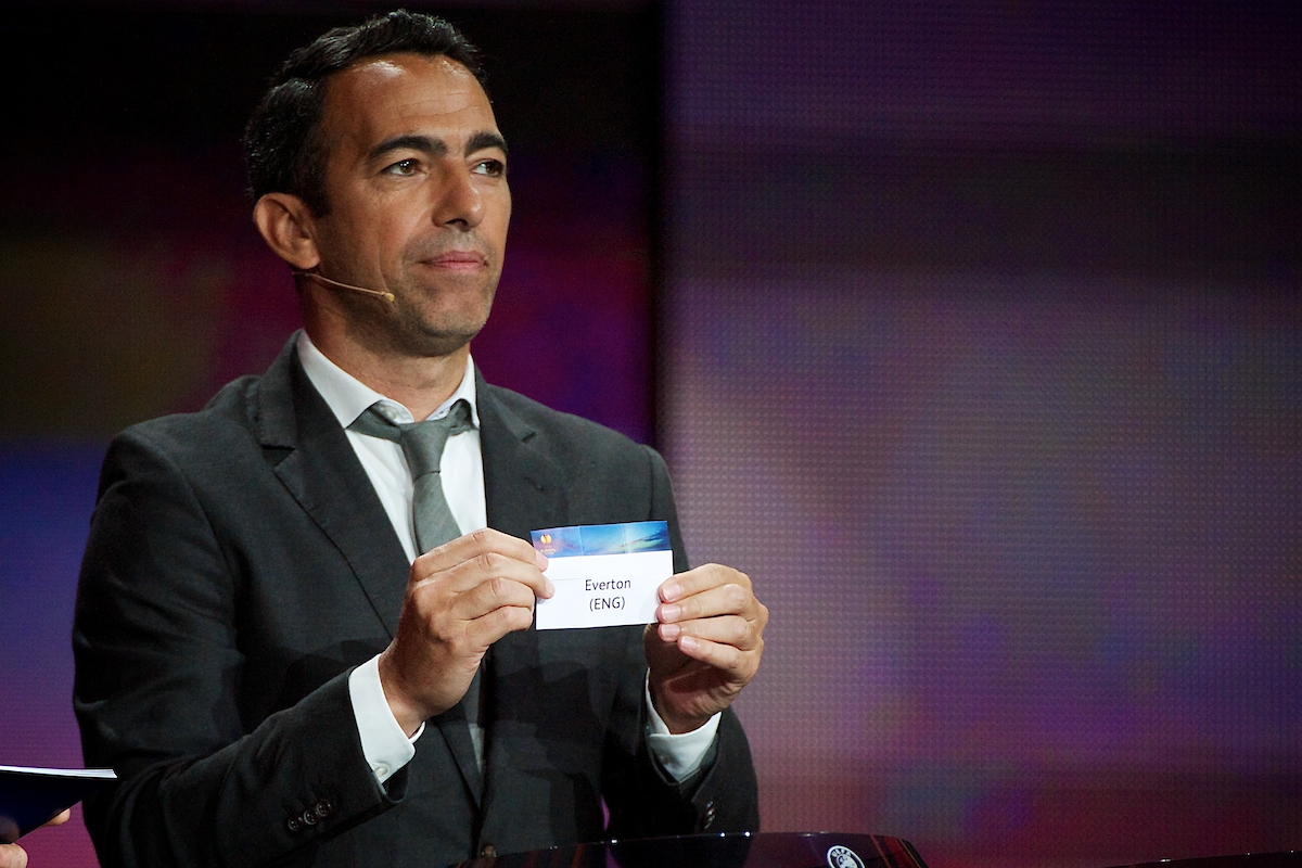 Former French international player Youri Djorkaeff draws Everton during the UEFA Europa League draw at Grimaldi Forum, Monte Carlo Picture by Ian Wadkins/Focus Images Ltd +44 7877 568959 29/08/2014