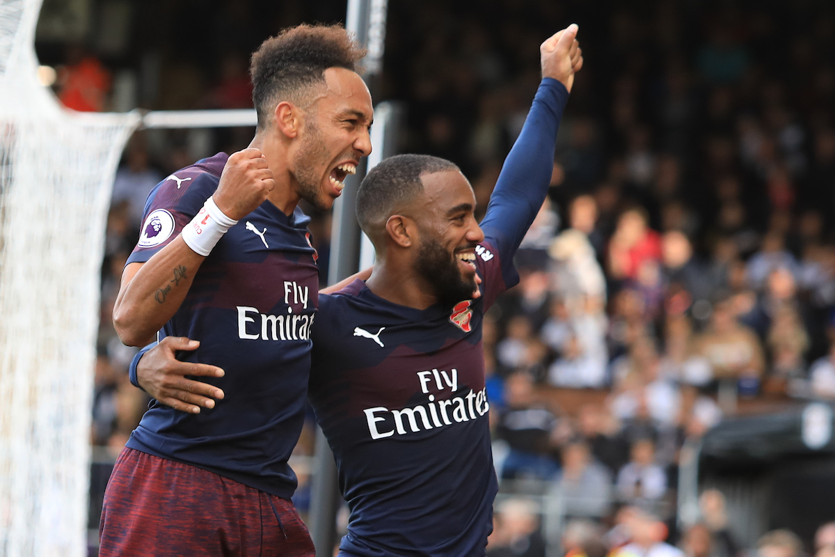 Pierre-Emerick Aubameyang of Arsenal celebrates scoring to make it 1-4 against Fulham during the Premier League match at Craven Cottage, London Picture by Romena Fogliati/Focus Images Ltd 07576143919 06/10/2018