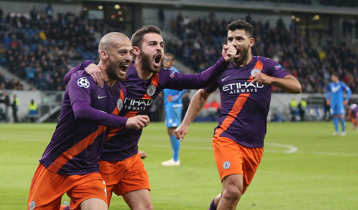 David Silva (left) of Manchester City celebrates scoring their second goal with team mates Bernardo Silva ((centre) and Sergio Aguero during the UEFA Champions League match at Rhein-Neckar-Arena, Sinsheim Picture by Firo Sportphoto/Focus Images Ltd +44 7814 482222 02/10/2018 *** UK & IRELAND ONLY ***
