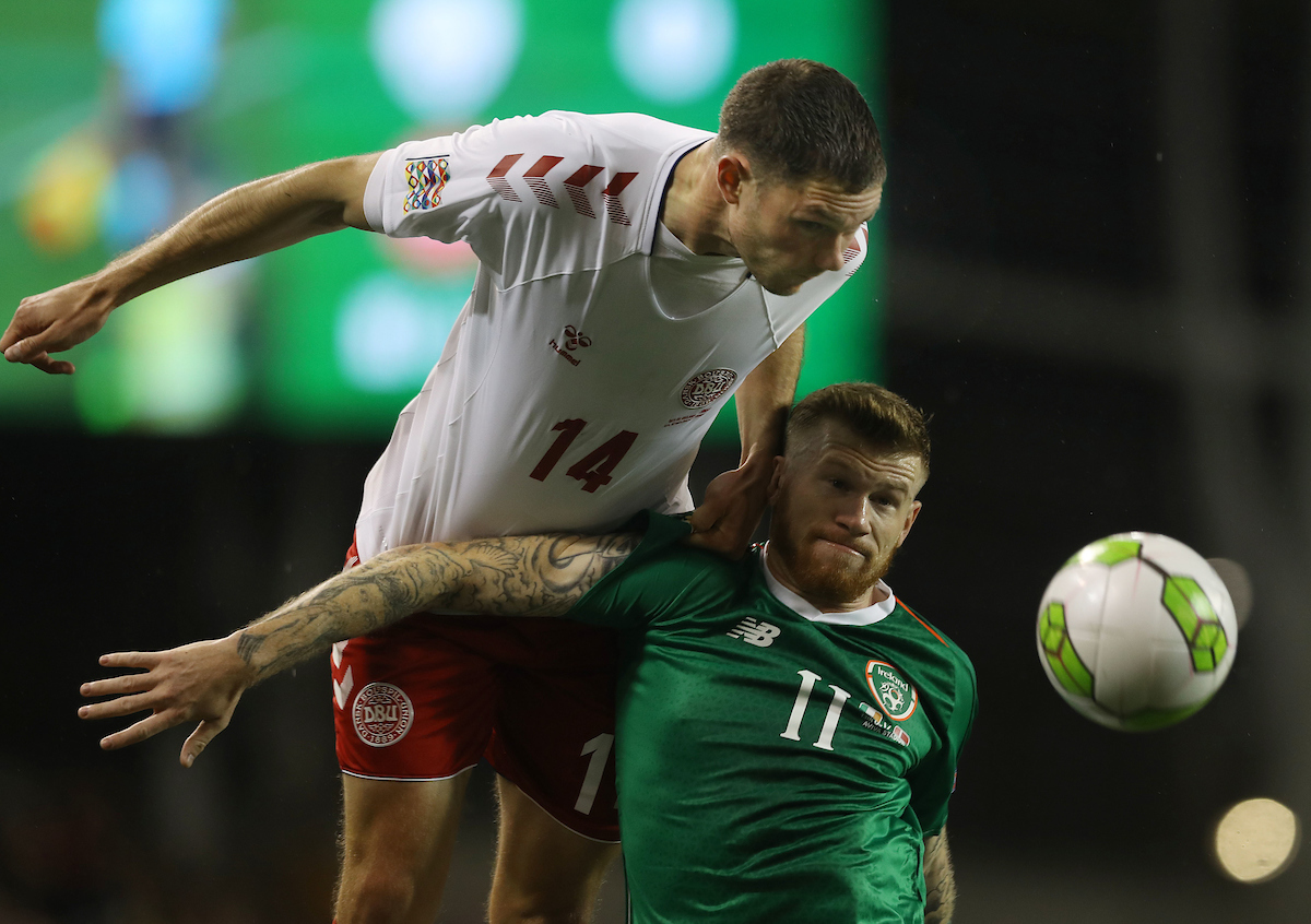 James McClean of Republic of Ireland and Henrik Dalsgaard of Denmark during the UEFA Nations League match at the Aviva Stadium, Dublin Picture by Lorraine O'Sullivan/Focus Images Ltd +353 872341584 13/10/2018