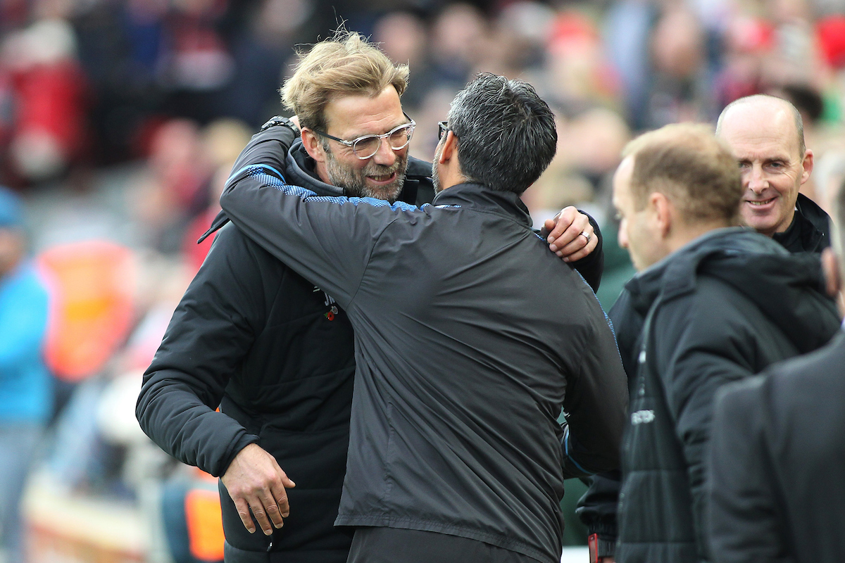 Jurgen Klopp manager of Liverpool greets David Wagner manager of Huddersfield Town prior to the Premier League match against Liverpool at Anfield, Liverpool. Picture by Michael Sedgwick/Focus Images Ltd +44 7900 363072 28/10/2017