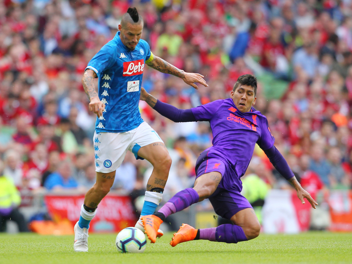 Roberto Firminio of Liverpool and Marek Hamsik of Napoli during the friendly match at the Aviva Stadium, Dublin Picture by Yannis Halas/Focus Images Ltd +353 8725 82019 04/08/2018