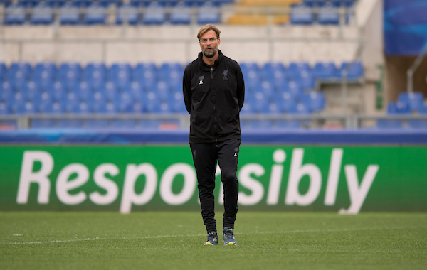 Liverpool manager Jurgen Klopp during the Liverpool training session at the Stadio Olimpico, Rome Picture by Russell Hart/Focus Images Ltd 07791 688 420 01/05/2018