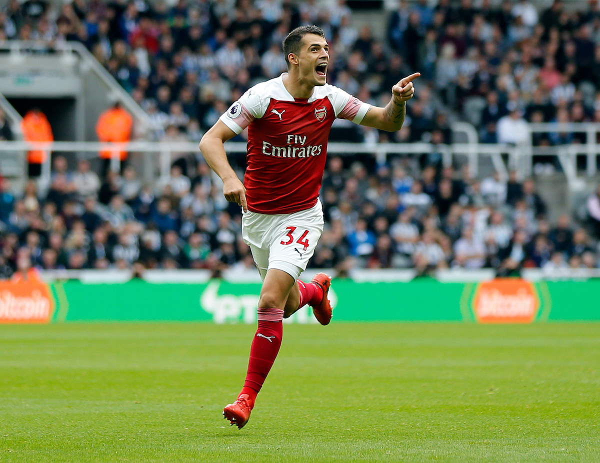 Granit Xhaka of Arsenal celebrates scoring the opening goal during the Premier League match at St. James's Park, Newcastle Picture by Simon Moore/Focus Images Ltd 07807 671782 15/09/2018