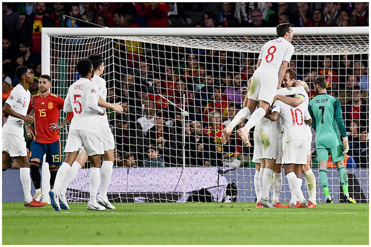 Raheem Sterling of England celebrates scoring their third goal to make it Spain 0 England 3 during the UEFA Nations League match at the Estadio Benito Villamarin, Seville Picture by Kristian Kane/Focus Images Ltd +44 7814 482222 15/10/2018