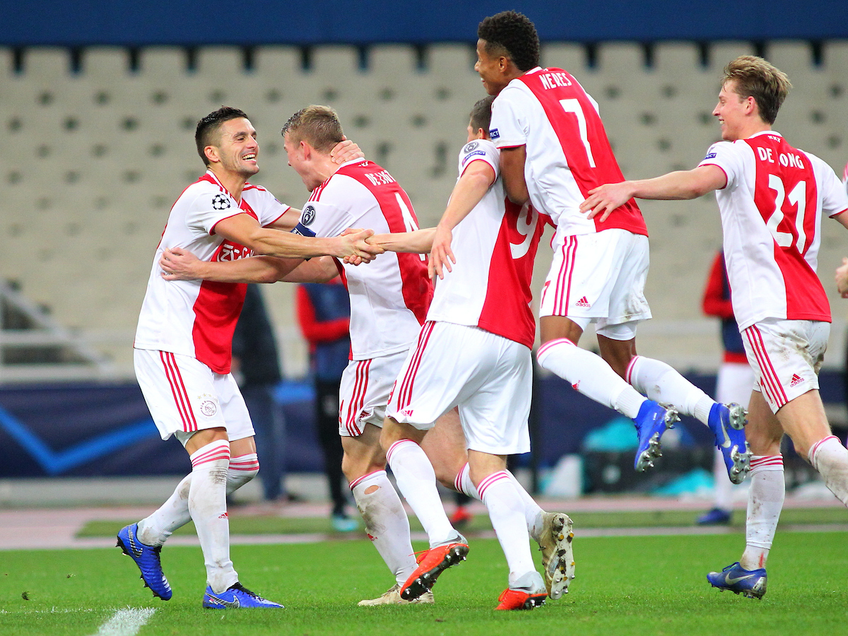 Dusan Tadic of Ajax Amsterdam celebrates his second goal of the game during the UEFA Champions League match at Olympic Stadium, Athens Picture by Yannis Halas/Focus Images Ltd +353 8725 82019 27/11/2018
