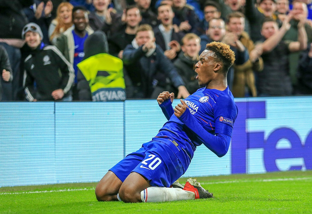 Callum Hudson-Odoi of Chelsea celebrates his goal during the UEFA Europa League match at Stamford Bridge, London Picture by Steve O'Sullivan/Focus Images Ltd 07572544769 29/11/2018