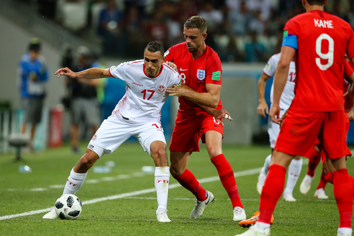 Ellyes Skhiri of Tunisia in action against Jordan Henderson of England during the England v Tunisia 2018 FIFA World Cup match at Volgograd Arena, Volgograd Picture by Paul Chesterton/Focus Images Ltd +44 7904 640267 18/06/2018