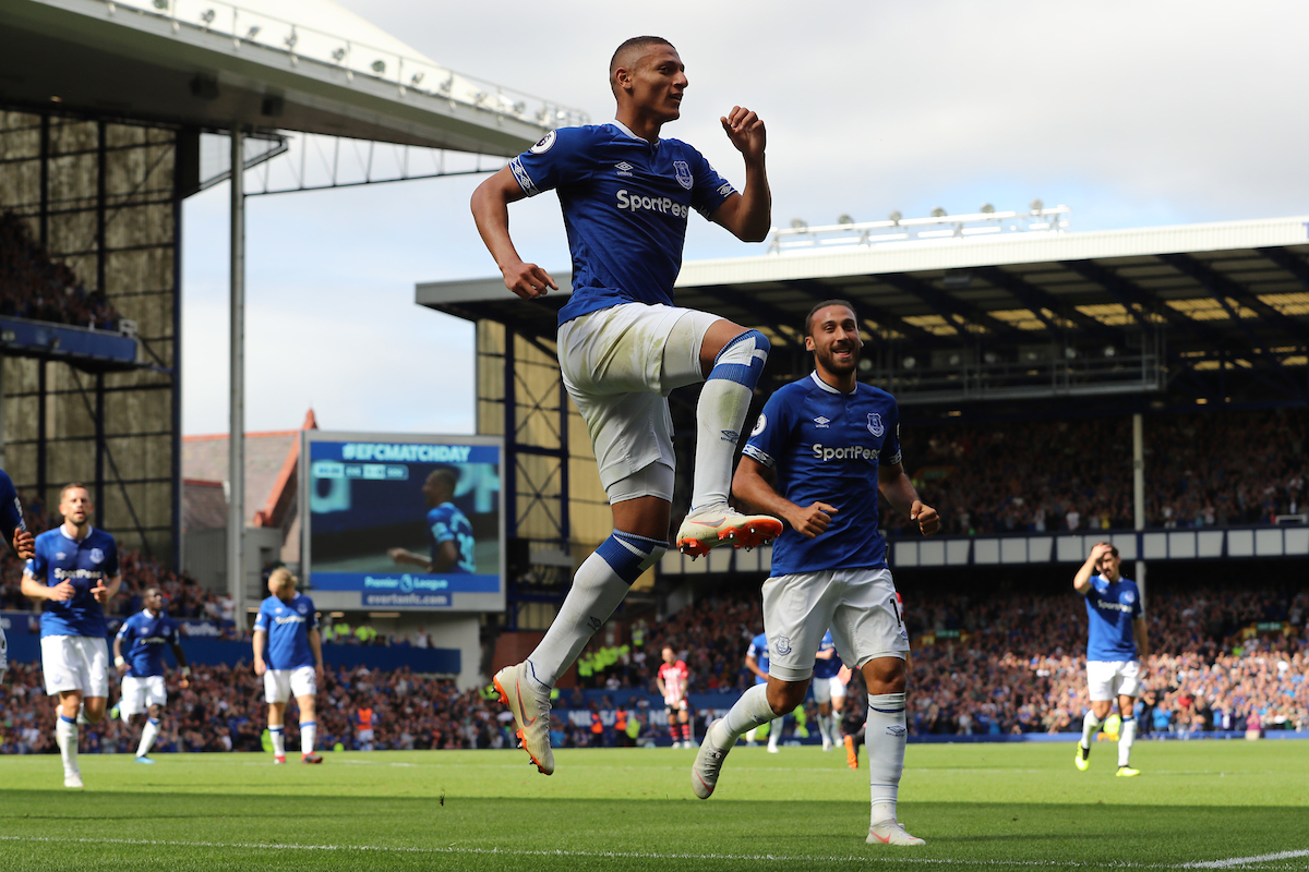Richarlison of Everton celebrates scoring the second goal against Southampton during the Premier League match at Goodison Park, Liverpool.  Picture by Michael Sedgwick/Focus Images Ltd +44 7900 363072  18/08/2018