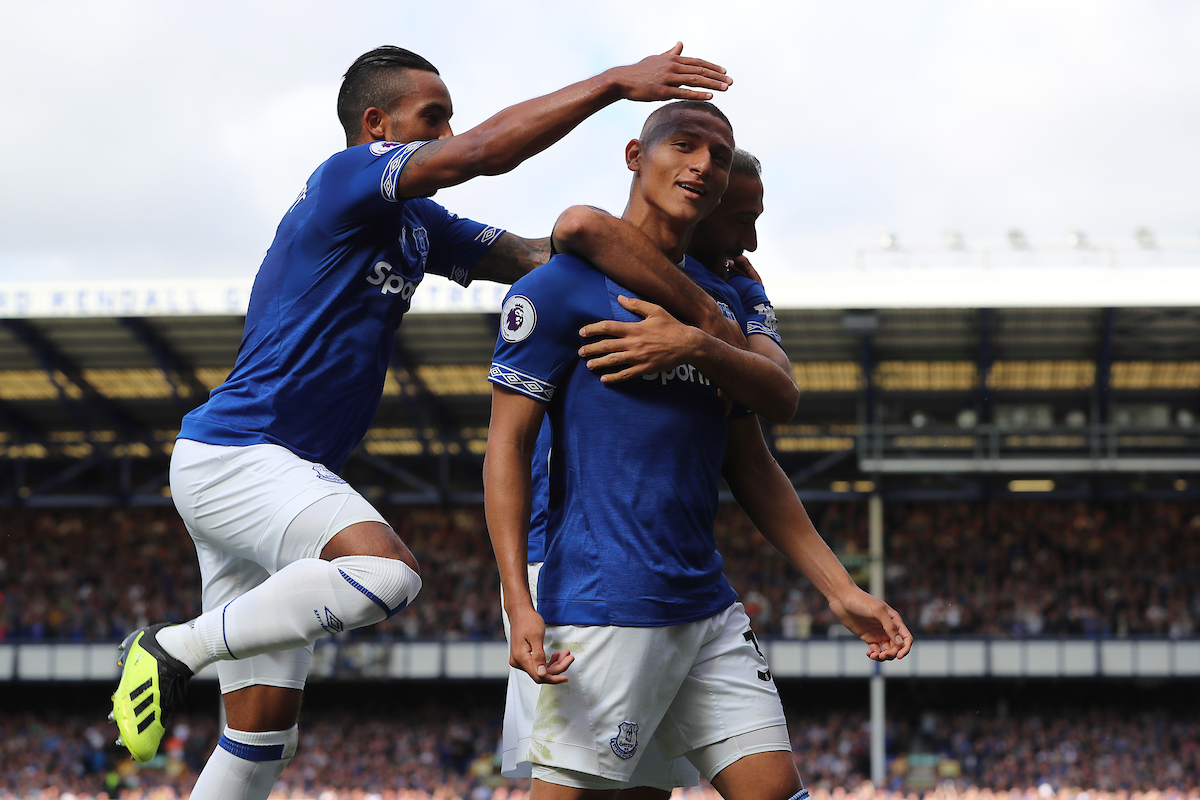 Richarlison of Everton celebrates with Theo Walcott and Cenk Tosun scoring the second goal against Southampton during the Premier League match at Goodison Park, Liverpool.  Picture by Michael Sedgwick/Focus Images Ltd +44 7900 363072  18/08/2018