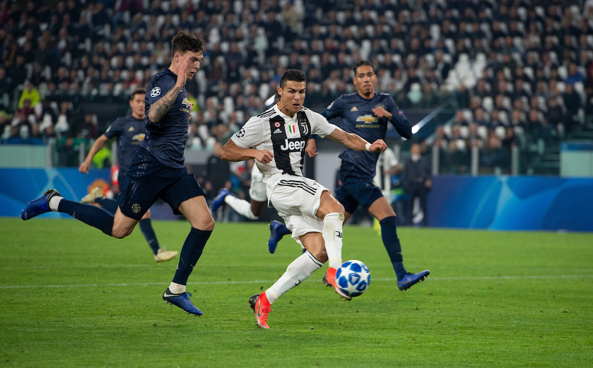 Cristiano Ronaldo of Juventus scores his team's 1st goal to make it 1-0 during the UEFA Champions League match at Juventus Stadium, Turin Picture by Russell Hart/Focus Images Ltd 07791 688 420 07/11/2018