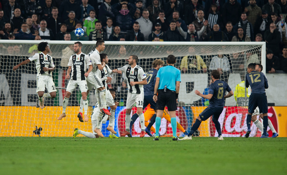 Juan Mata of Manchester United scores his team's equalising goal to make it 1-1 during the UEFA Champions League match at Juventus Stadium, Turin Picture by Russell Hart/Focus Images Ltd 07791 688 420 07/11/2018