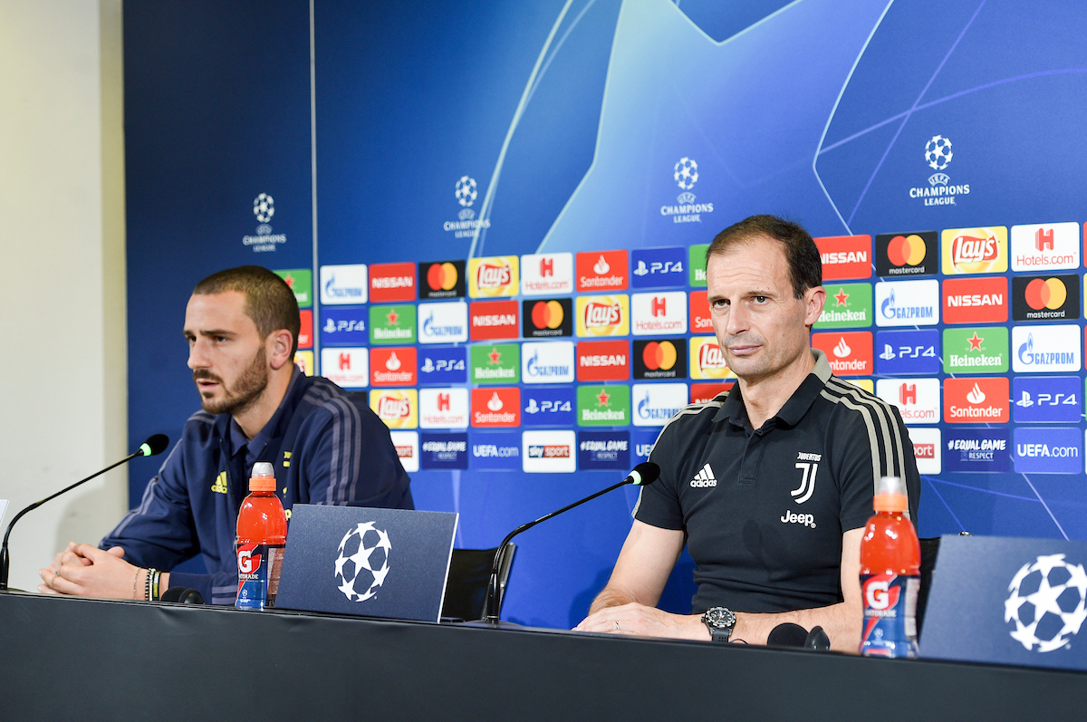 Massimiliano Allegri head coach, Leonardo Bonucci during the Juventus press conference at Juventus Stadium, Turin Picture by Antonio Polia/Focus Images Ltd +393473147935 06/11/2018
