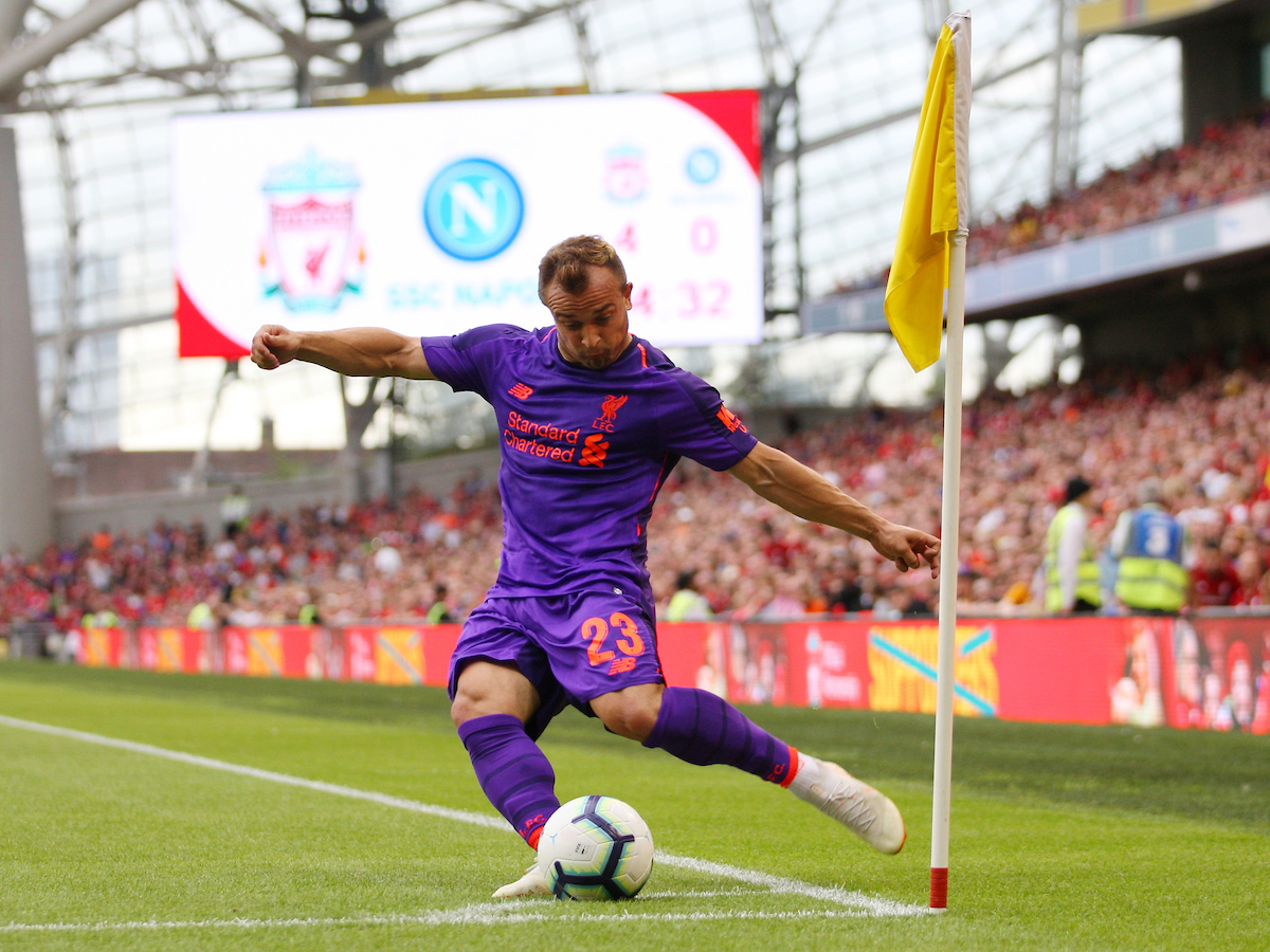 Xherdan Shaqiri of Liverpool takes a corner kick during the friendly match at the Aviva Stadium, Dublin Picture by Yannis Halas/Focus Images Ltd +353 8725 82019 04/08/2018