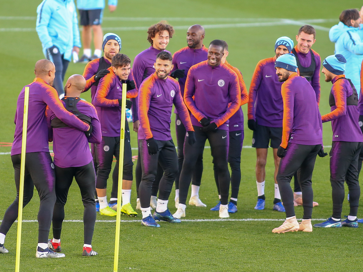 Vincent Kompany manhandles Fabian Delph to run the gauntlet of Sergio Aguero, and team mates during the Manchester City training session at City Football Academy , Manchester Picture by Steve McCormick/Focus Images Ltd 07545 862647 06/11/2018